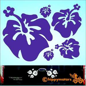 vinyl Hibiscus Decals for cars camper vans by hippy motors