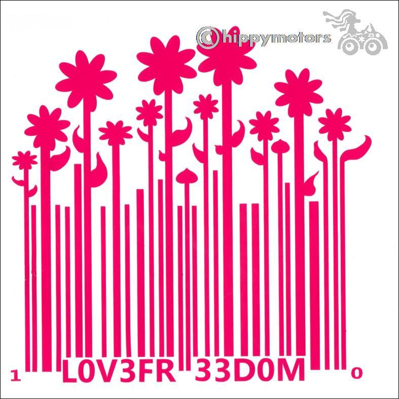 barcode growing to flowers car sticker