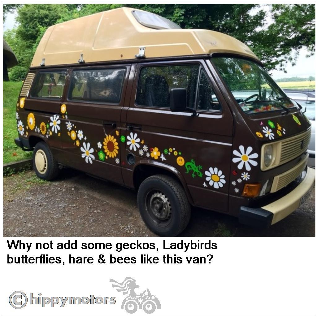 Large set of Hippy Motors flowers graphics on VW campervan