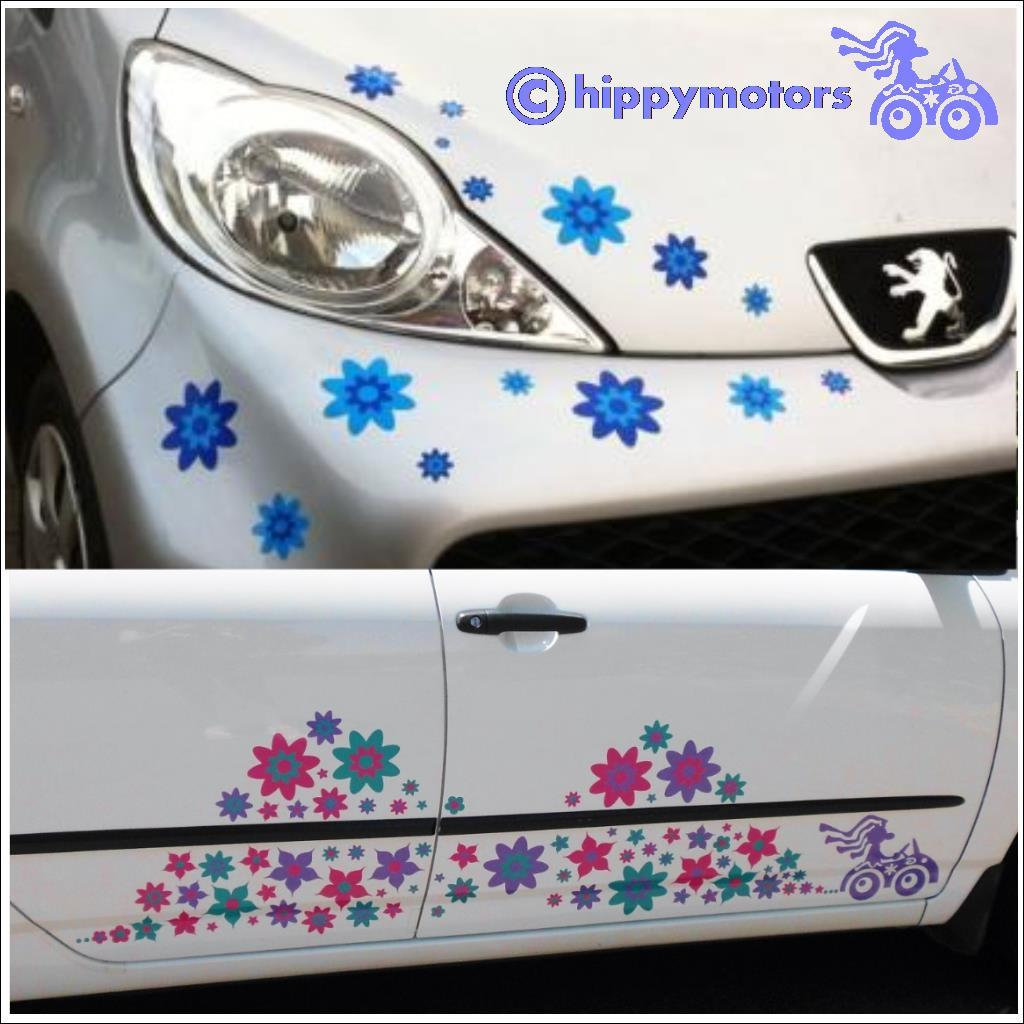 Flower stickers on cars