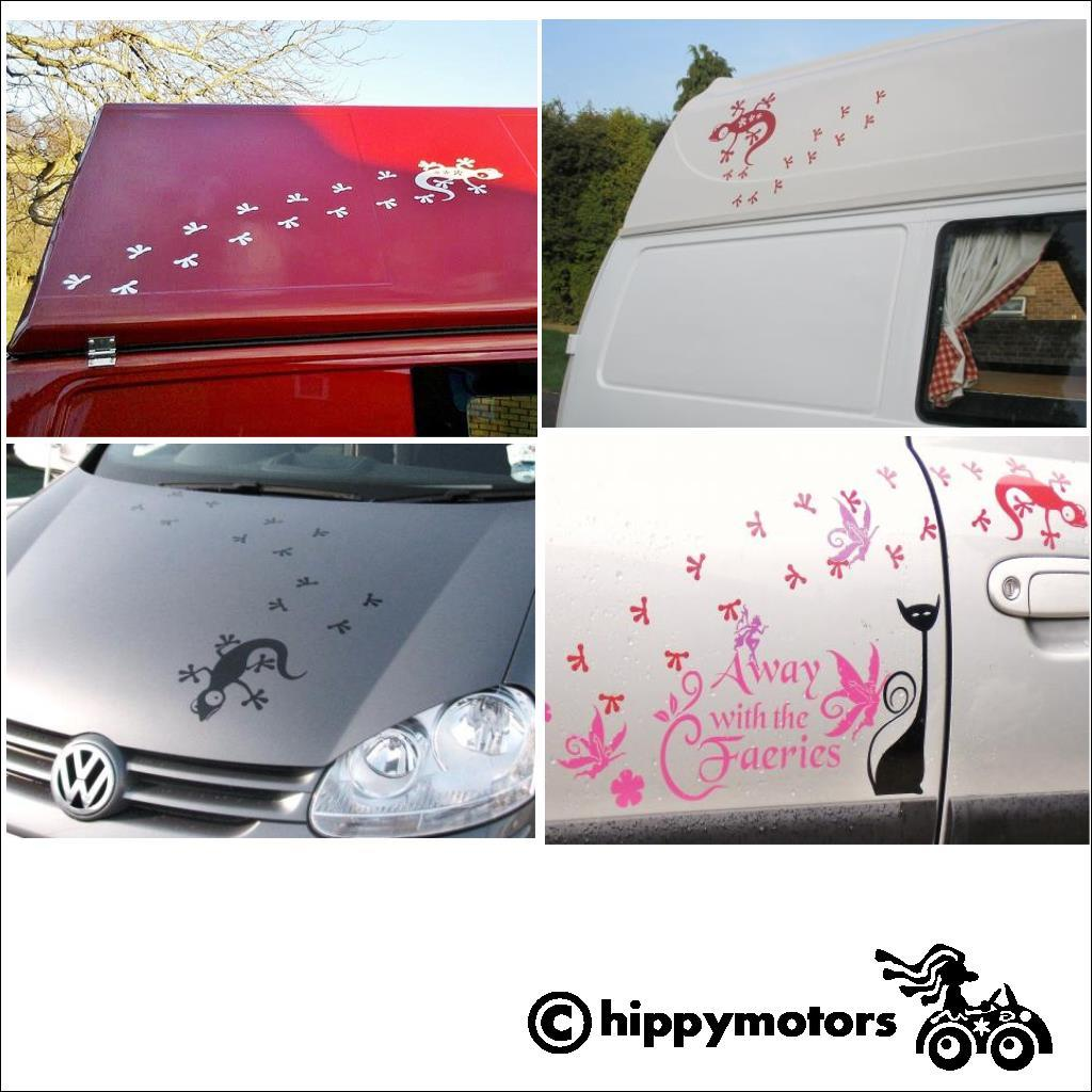 Gecko footprint decals on campervans