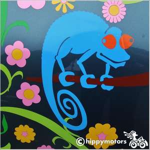 Chameleon car sticker on car