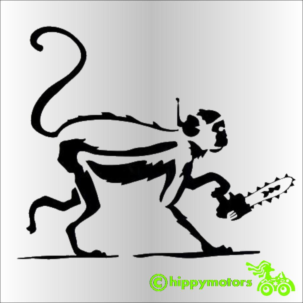Banksy monkey with chainsaw decal