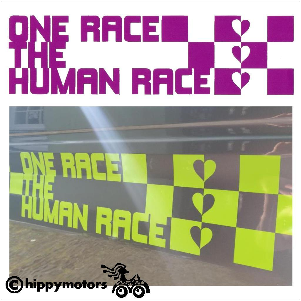 Vinyl Decal with one human race on camper van vehicle