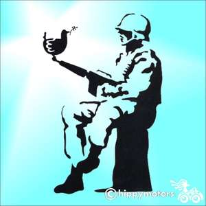 Banksy soldier with dove decal