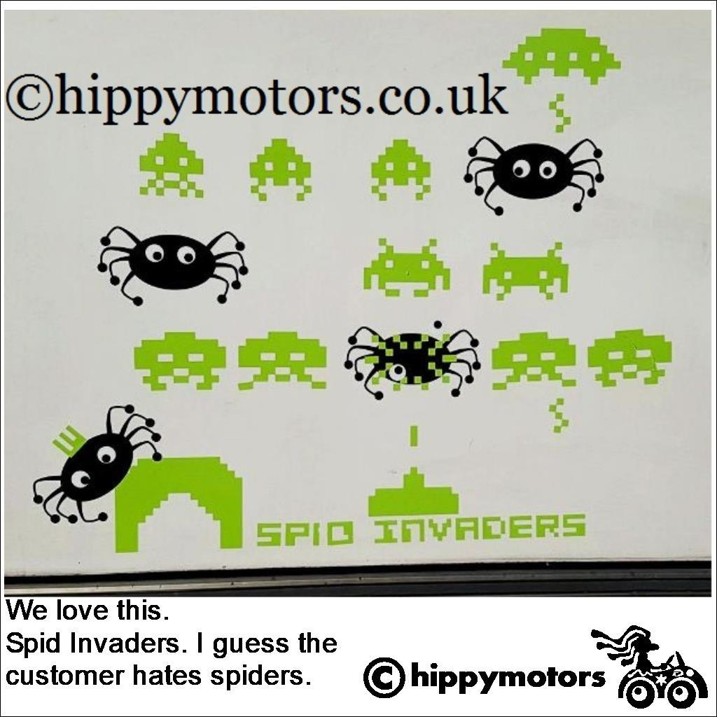 space invader transfer graphics on camper van