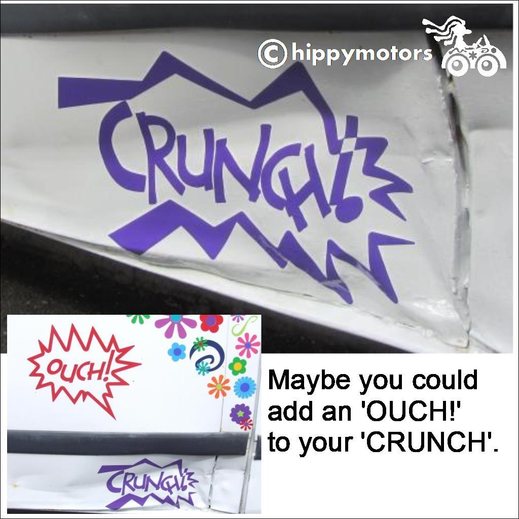 crunch sticker on dented van