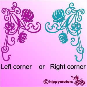 flower corner decal for cars windows and walls