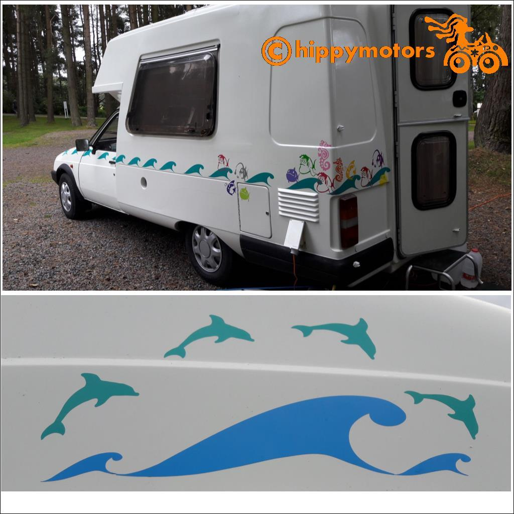 waves stripe vinyl decal for caravan bus car