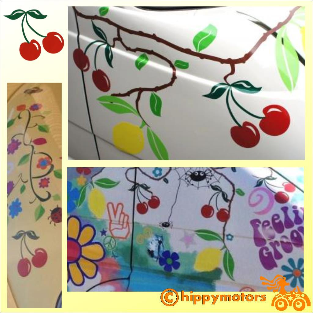 cherry decal transfer on camper van caravan