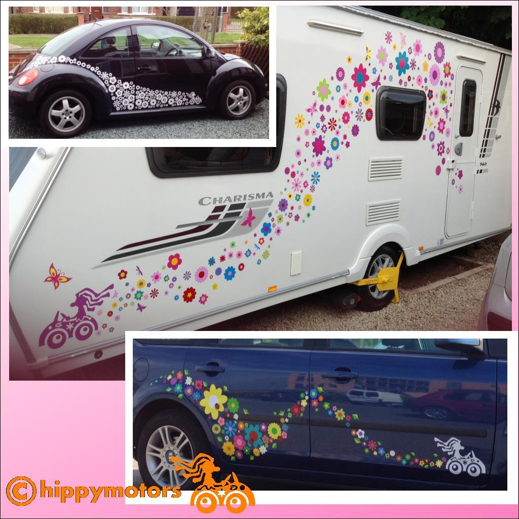 Flowers and hippy driver on caravan