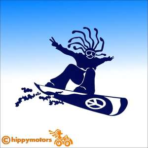 Hippy Snowboarder vinyl car Decal