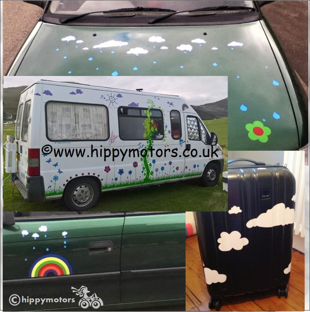 cloud vinyl transfers for camper vans, buses, luggage and cars