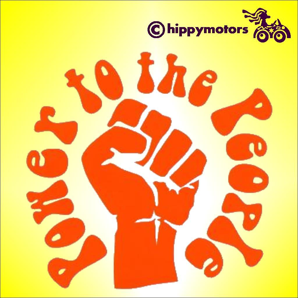 Power To the people decal showing clenched fist