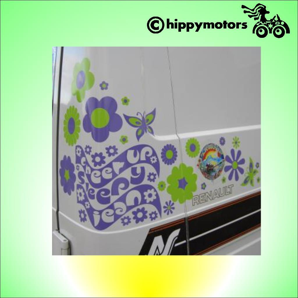 cheer up sleepy jean decal on a van with flowers and butterflies