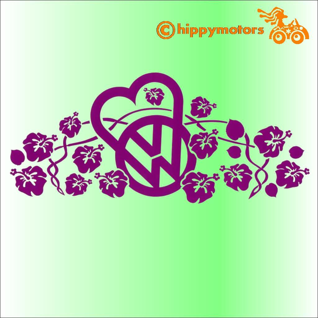 VW heart and hibiscus vinyl decals for T1 T2 T3 T5 camper vans and cars