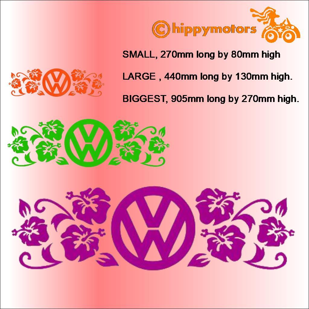 vw logo campervan vinyl sticker with flowers different sizes