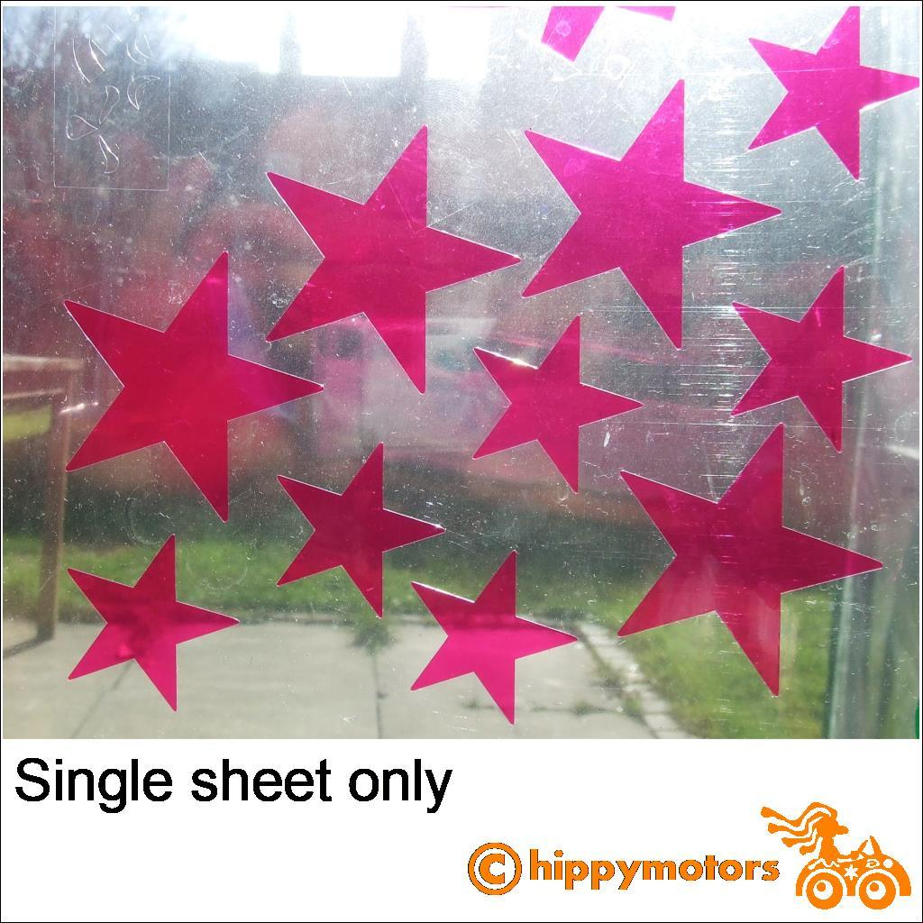 coloured star decals on a window