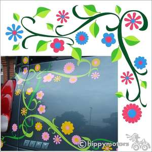 Vine and flower decal on car
