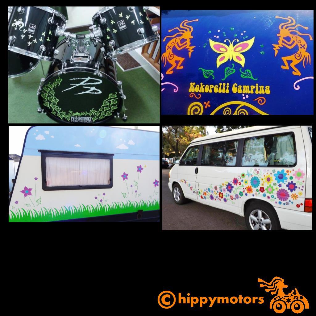 decals on a drum kit flowers on a caravan and car