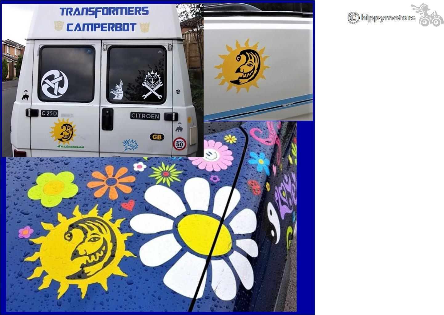 the levellers sun and punch decal sticker on caravan camper van and car bonnet