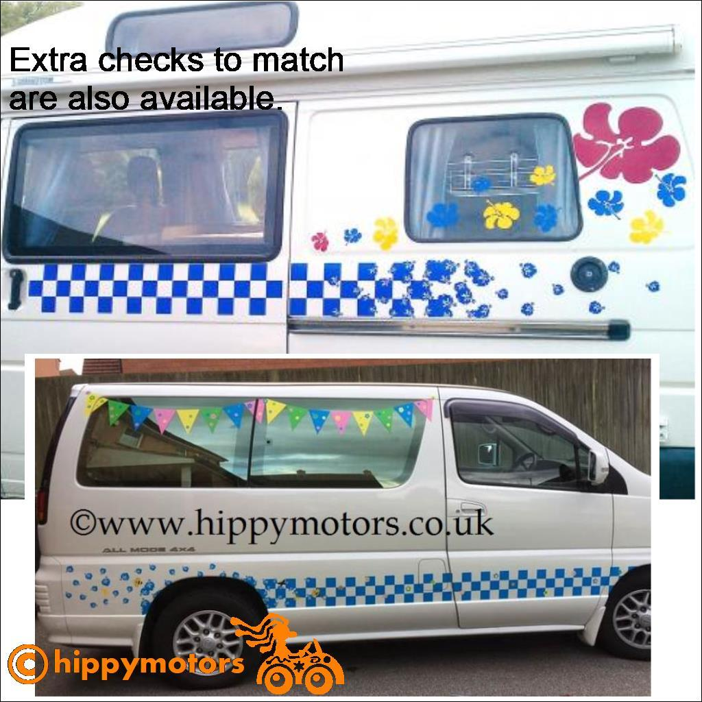 Racing Check to Hibiscus Flowers vinyl graphics on camper vans