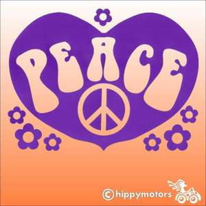 Decal showing the word peace in a heart