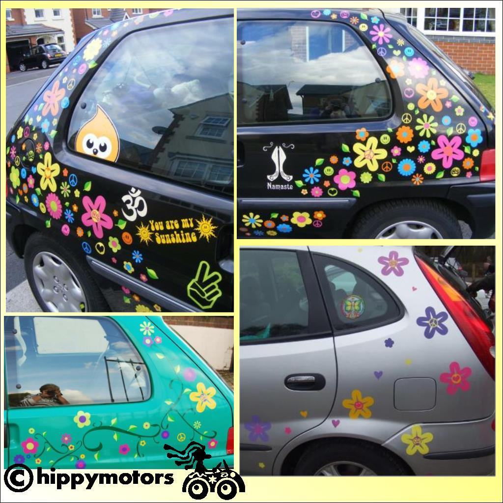flowers with symbols in the middle on cars