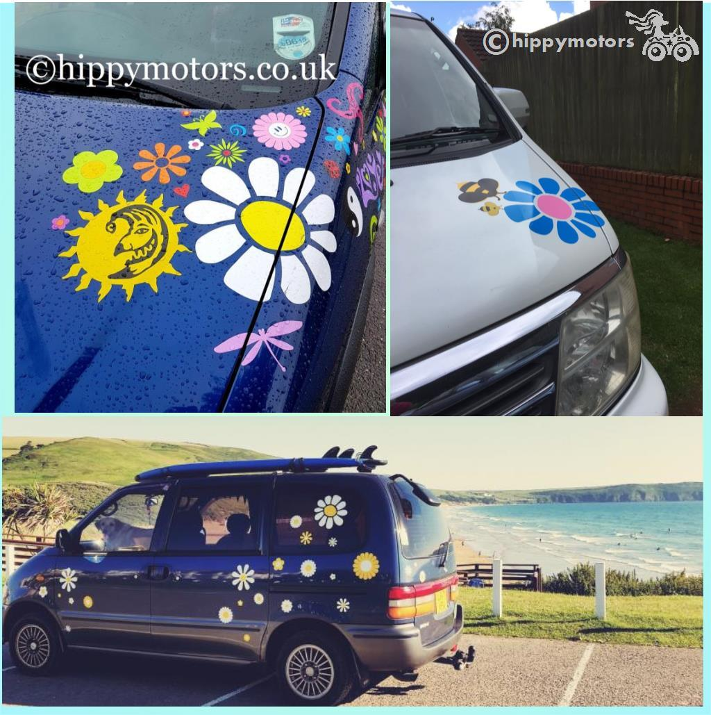 hippy flower daisies sticker on motors home camper van and car