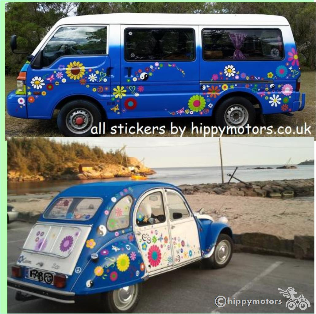 daisy flower vinyl decals on citroen 2cv and VW camper van