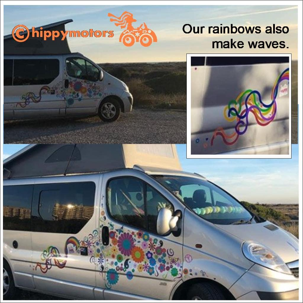 rainbow bus stickers decals caravan transfers hippy motors