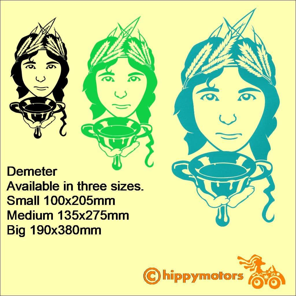 Demeter Goddess Mother Earth Decal sizes