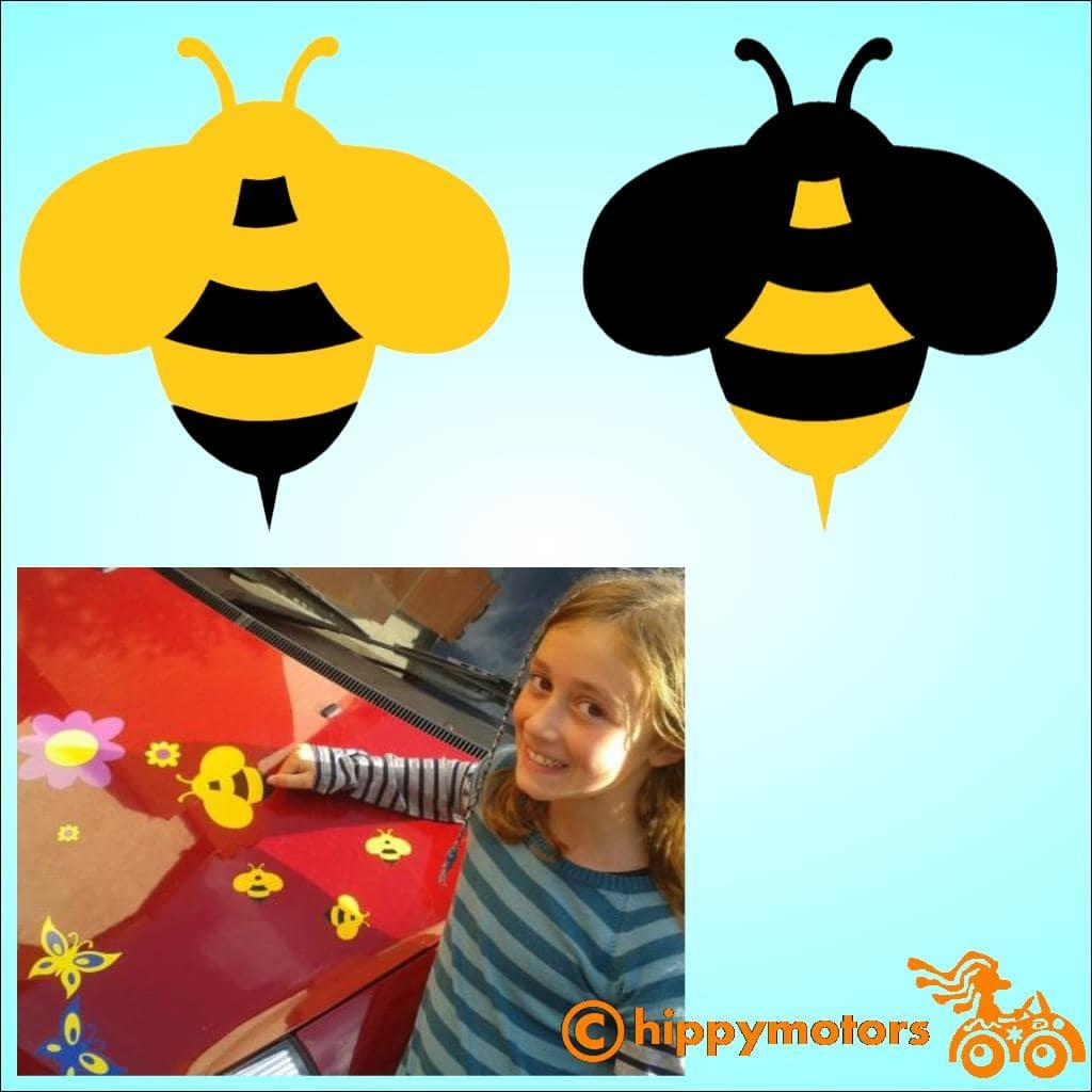 Bee car sticker by hippy motors for cars and caravans