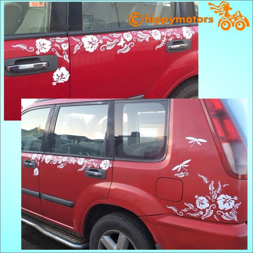 hibiscus car stickers on red car
