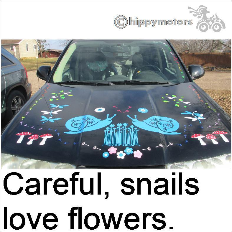 bar code and flowers with snail decals on car