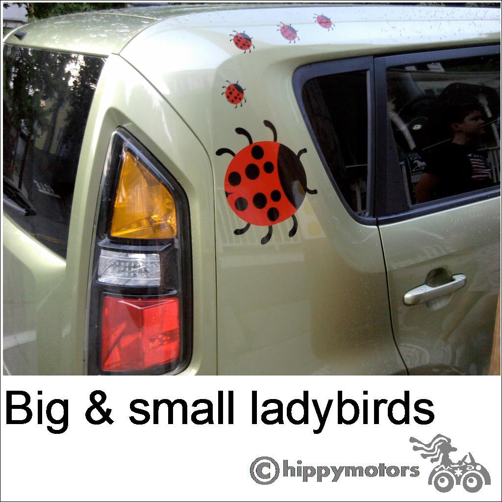 Lady bird sticker on a car caravan