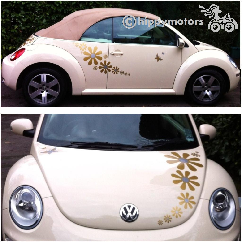 Daisy flower car stickers on VW Beetle