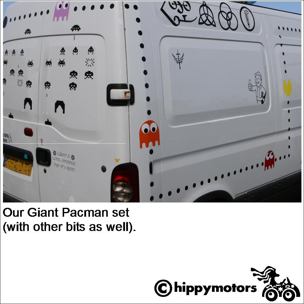 funny pacman vinyl sticker graphics on van