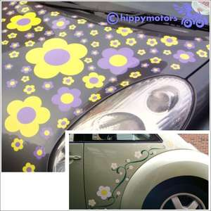 hippy fab flower stickers on car