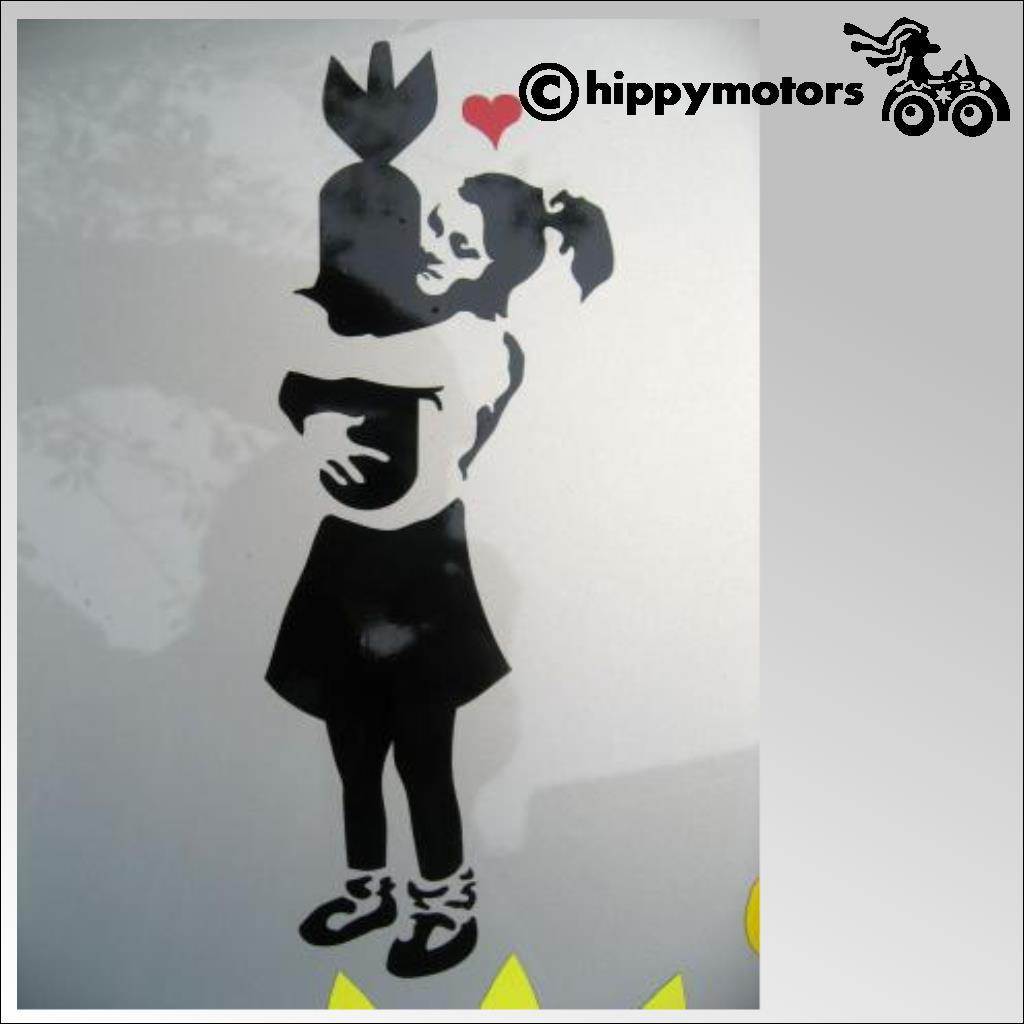 banksy girl hugging bomb decal