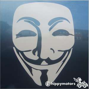 Guy Fawkes v for vendetta decal on car
