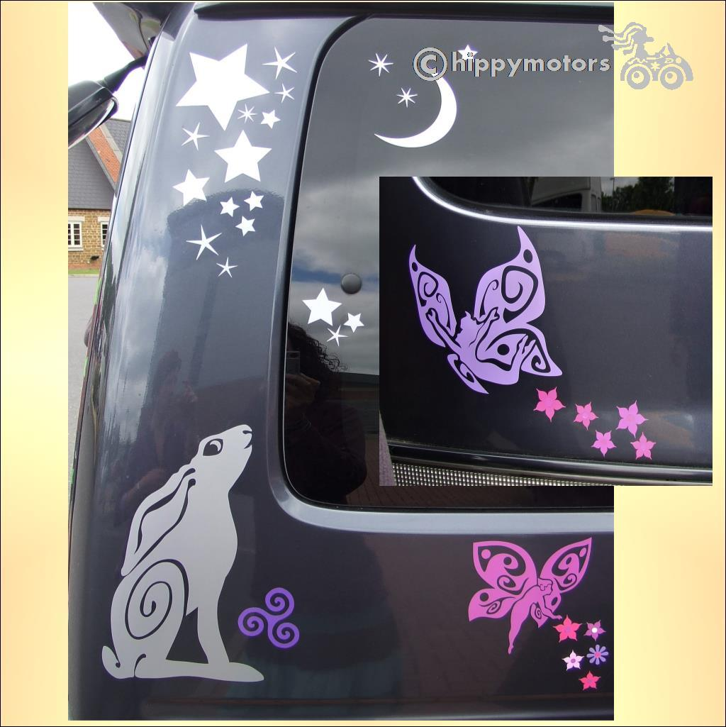 fairy flower car stickers transfers hippy motors