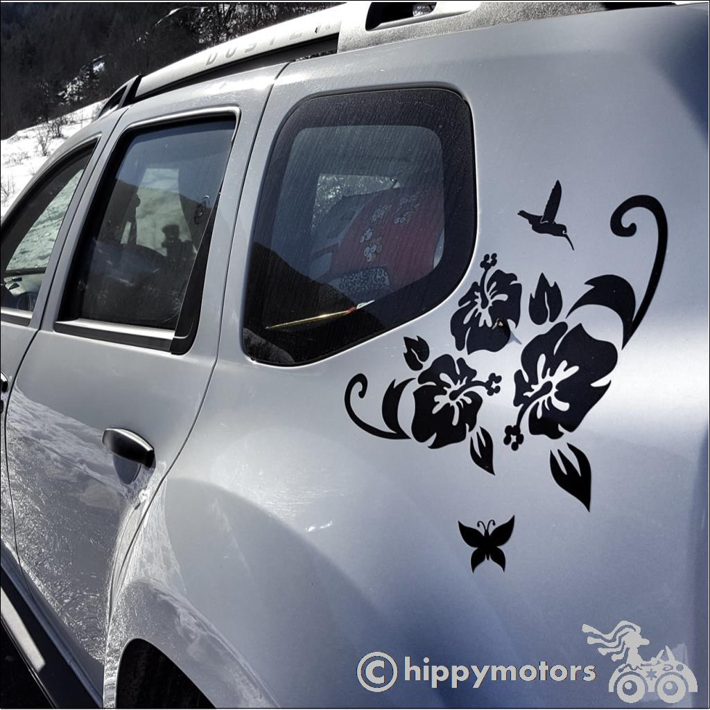 vinyl hibiscus decal sticker on car corner