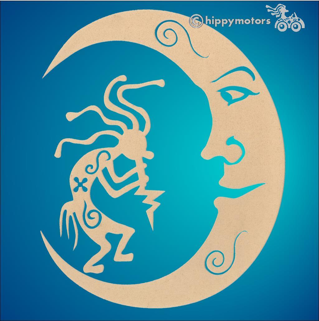kokpelli moon car sticker decal camper van graphics hippy motors