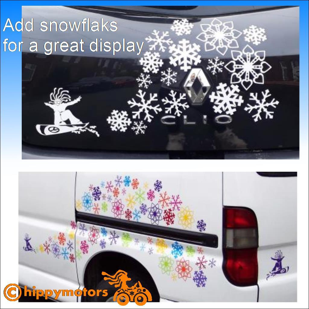 snowboarder with snow flake stickers on camper van