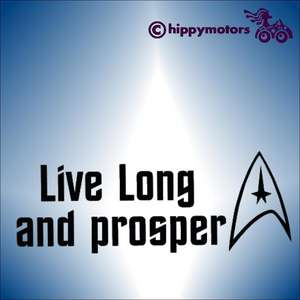 Decal or car sticker with live long and prosper on it from star trek