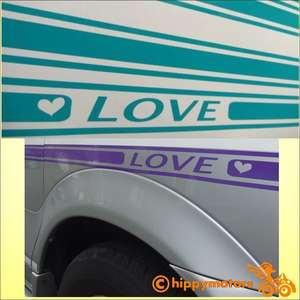 vinyl decal stripes on caravan with love