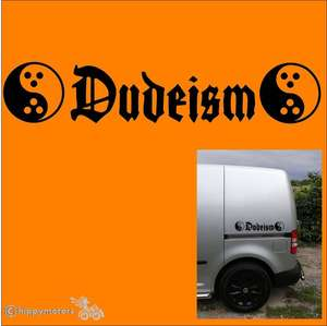 dudeism dudeist sticker decal for cars, camper vans, caravans and windows