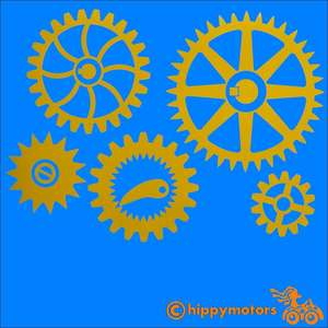 steam punk style gears and cogs vinyl decal for cars caravans and camper vans