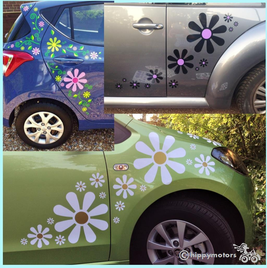 big daisy vinyl stickers on cars and camper vans